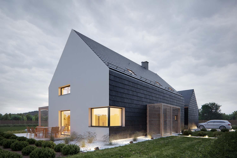dom jednorodzinny piętrowy nowoczesna stodoła